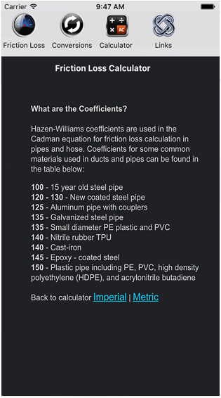 Friction Loss Calculator - IOS Devices