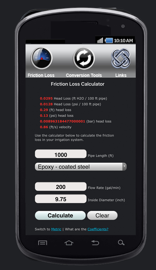 Friction Loss Calculator - Android